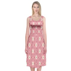 Pink Flower Floral Midi Sleeveless Dress by Alisyart