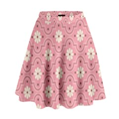 Pink Flower Floral High Waist Skirt