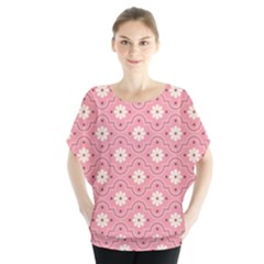 Pink Flower Floral Blouse by Alisyart