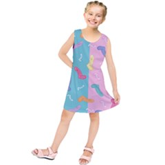 Socks Kids Blue Pink Yellow Purple Green Rainbow Kids  Tunic Dress