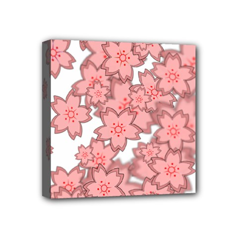 Flower Floral Pink Mini Canvas 4  X 4