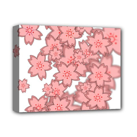 Flower Floral Pink Deluxe Canvas 14  X 11  by Alisyart