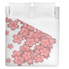Flower Floral Pink Duvet Cover (queen Size) by Alisyart