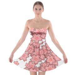 Flower Floral Pink Strapless Bra Top Dress
