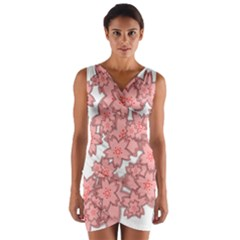 Flower Floral Pink Wrap Front Bodycon Dress