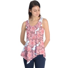 Flower Floral Pink Sleeveless Tunic by Alisyart