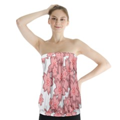 Flower Floral Pink Strapless Top