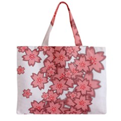 Flower Floral Pink Medium Zipper Tote Bag