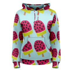 Watermelonn Red Yellow Blue Fruit Ice Women s Pullover Hoodie