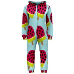 Watermelonn Red Yellow Blue Fruit Ice Hooded Jumpsuit (ladies)