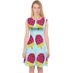 Watermelonn Red Yellow Blue Fruit Ice Capsleeve Midi Dress
