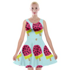 Watermelonn Red Yellow Blue Fruit Ice Velvet Skater Dress