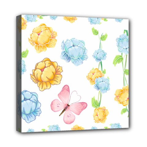 Rose Flower Floral Blue Yellow Gold Butterfly Animals Pink Mini Canvas 8  X 8  by Alisyart