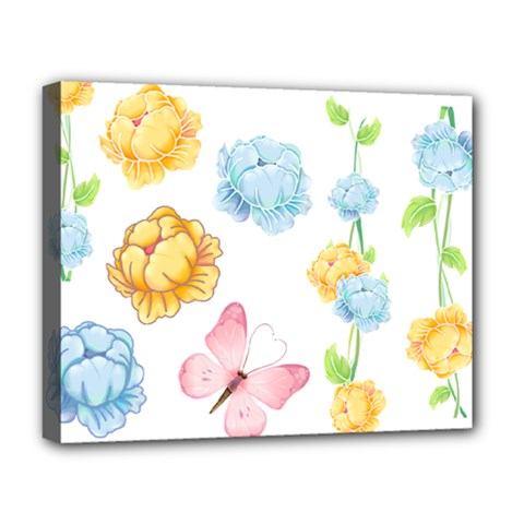 Rose Flower Floral Blue Yellow Gold Butterfly Animals Pink Deluxe Canvas 20  X 16   by Alisyart