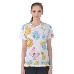Rose Flower Floral Blue Yellow Gold Butterfly Animals Pink Women s Cotton Tee by Alisyart