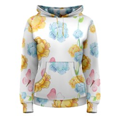 Rose Flower Floral Blue Yellow Gold Butterfly Animals Pink Women s Pullover Hoodie