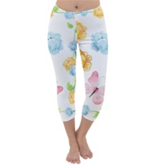 Rose Flower Floral Blue Yellow Gold Butterfly Animals Pink Capri Winter Leggings  by Alisyart