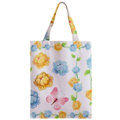 Rose Flower Floral Blue Yellow Gold Butterfly Animals Pink Zipper Classic Tote Bag by Alisyart