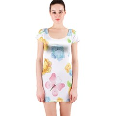 Rose Flower Floral Blue Yellow Gold Butterfly Animals Pink Short Sleeve Bodycon Dress