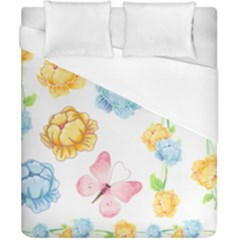 Rose Flower Floral Blue Yellow Gold Butterfly Animals Pink Duvet Cover (california King Size) by Alisyart