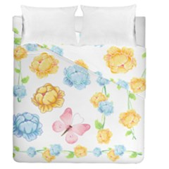 Rose Flower Floral Blue Yellow Gold Butterfly Animals Pink Duvet Cover Double Side (queen Size) by Alisyart