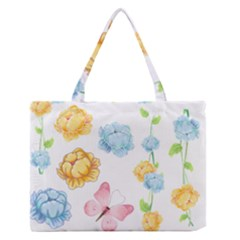Rose Flower Floral Blue Yellow Gold Butterfly Animals Pink Medium Zipper Tote Bag by Alisyart