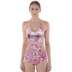 Vintage Style Floral Flower Pink Cut Out One Piece Swimsuit
