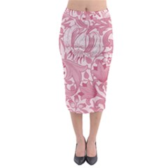 Vintage Style Floral Flower Pink Midi Pencil Skirt by Alisyart