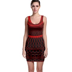Red Spiral Featured Sleeveless Bodycon Dress