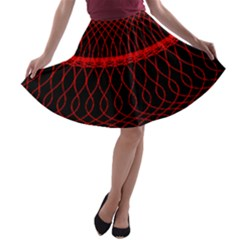 Red Spiral Featured A Line Skater Skirt