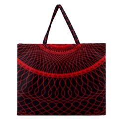 Red Spiral Featured Zipper Large Tote Bag by Alisyart