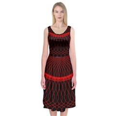 Red Spiral Featured Midi Sleeveless Dress