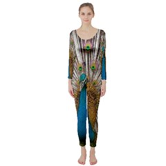 Indian Peacock Plumage Long Sleeve Catsuit by Simbadda