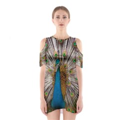 Indian Peacock Plumage Shoulder Cutout One Piece by Simbadda