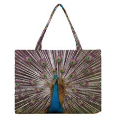 Indian Peacock Plumage Medium Zipper Tote Bag by Simbadda
