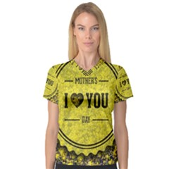 Happy Mother Day Women s V Neck Sport Mesh Tee by Simbadda