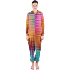 Colourful Weave Background Hooded Jumpsuit (ladies)  by Simbadda
