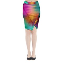 Colourful Weave Background Midi Wrap Pencil Skirt by Simbadda