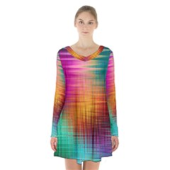 Colourful Weave Background Long Sleeve Velvet V Neck Dress by Simbadda