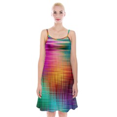 Colourful Weave Background Spaghetti Strap Velvet Dress by Simbadda