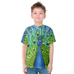 Peacock Bird Animation Kids  Cotton Tee