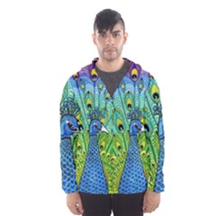 Peacock Bird Animation Hooded Wind Breaker (men)
