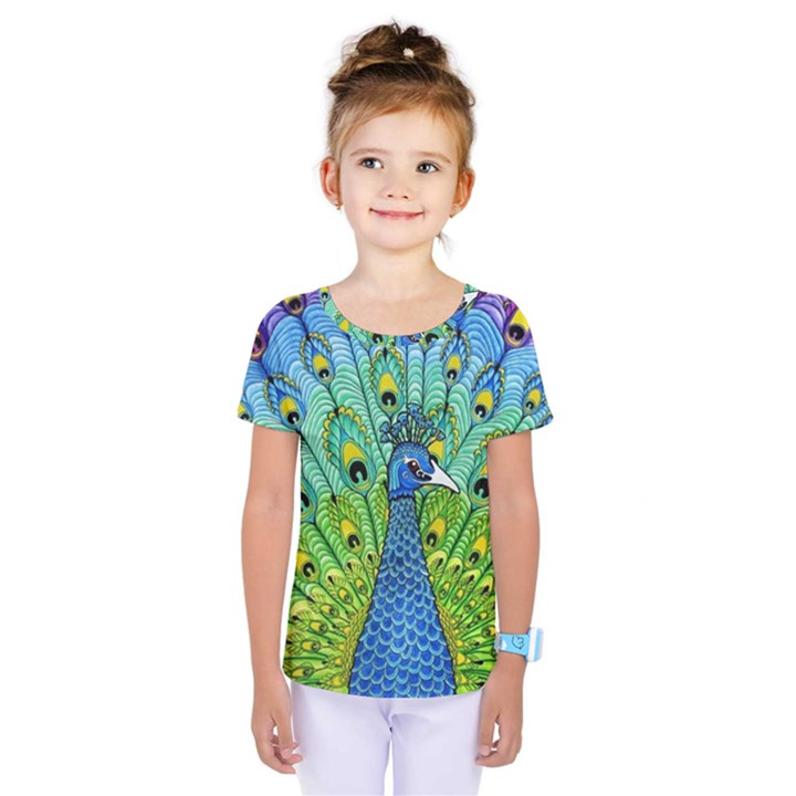 Peacock Bird Animation Kids  One Piece Tee