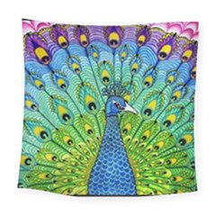 Peacock Bird Animation Square Tapestry (large) by Simbadda