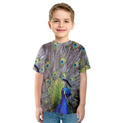 Peacock Bird Feathers Kids  Sport Mesh Tee