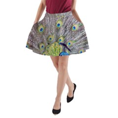 Peacock Bird Feathers A Line Pocket Skirt by Simbadda