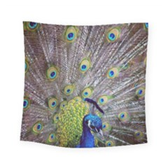 Peacock Bird Feathers Square Tapestry (small) by Simbadda