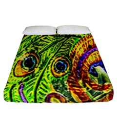 Peacock Feathers Fitted Sheet (california King Size) by Simbadda