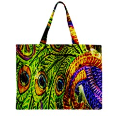 Peacock Feathers Zipper Mini Tote Bag by Simbadda