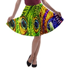 Peacock Feathers A-line Skater Skirt by Simbadda
